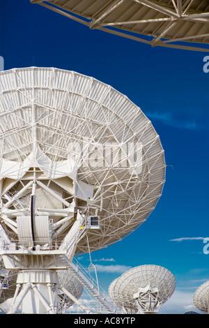 Satellite dishes dish of radio telescope astronomy observatory Very Large Array VLA near Socorro New Mexico US USA - Stock Photo