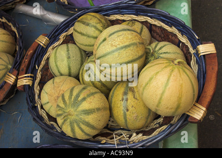 Cantaloupe melone (Cucumis melo var. cantalupensis), in a basket, France, Provence