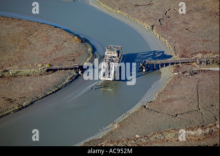 aerial view above swing bridge near mouth Petaluma river border Sonoma Marin counties northwest edge San Francisco - Stock Photo