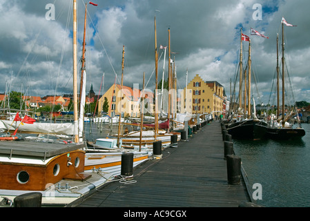 Harbour front for old sailing ship Svendborg Denmark - Stock Photo