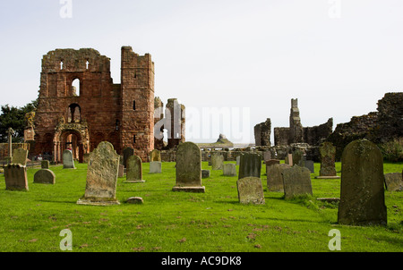 Lindisfarne's Benedictine priory, now in ruins on the holy island, Northumberland England - Stock Photo