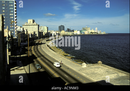 Sparse traffic on the Malecon, Havana, Cuba - Stock Photo