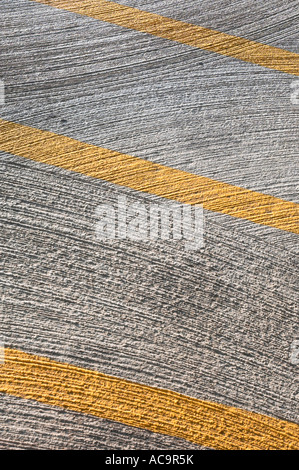 Yellow Lines Concrete Cement Pattern, Parking Lot USA - Stock Photo