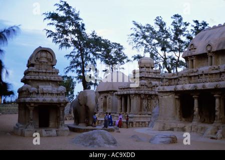 Mahabalipuram, India - Five Rathas Temple at dusk - Stock Photo