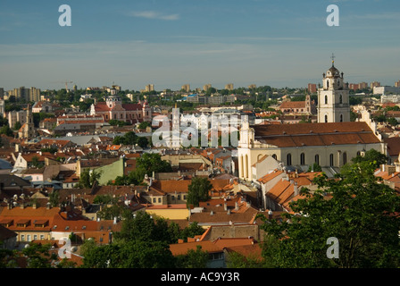 Southern Old Town from Castle Hill, Vilnius, Lithuania - Stock Photo