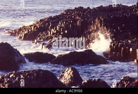 The basalt columns of the Giants Causeway, County Antrim, Northern Ireland - Stock Photo