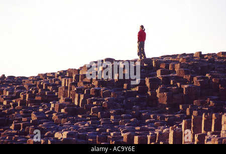 Person on the hexagonal basalt columns of the Giants Causeway, Co Antrim, Northern Ireland