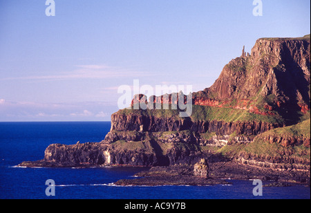 The cliffs of Lacada Point beside the Giants Causeway, County Antrim Northern Ireland. - Stock Photo