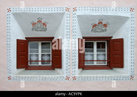 Windows of a typical Engadine house, Scuol, Engadin, Grisons, Switzerland - Stock Photo