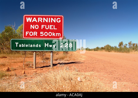 Warning sign in the outback, Tablelands Highway, Northern Territory, Australia - Stock Photo