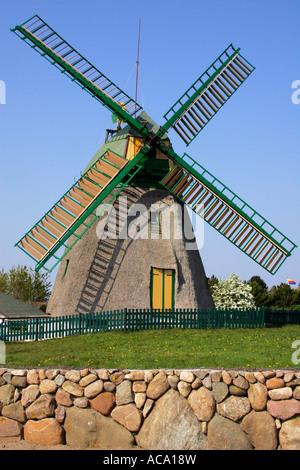 Old windmill build in dutch style - Nebel, Amrum, North Frisia, Schleswig-Holstein, Germany, Europe - Stock Photo