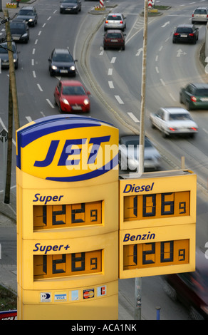 Prices of gas, Jet gas station, Germany - Stock Photo