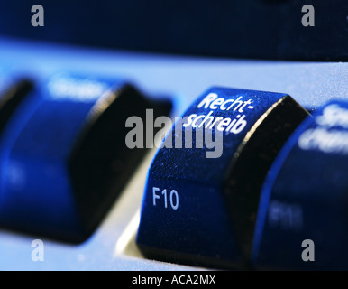 Computer keyboard, function key, spell check - Stock Photo