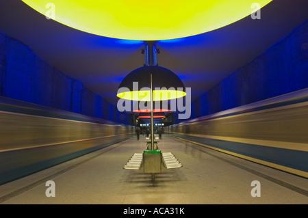Metro station Westfriedhof in Munich, Bavaria, Germany