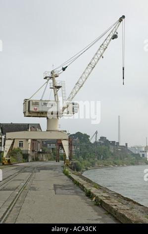 Crane, Rhine port, Uerdingen, North Rhine-Westphalia - Stock Photo