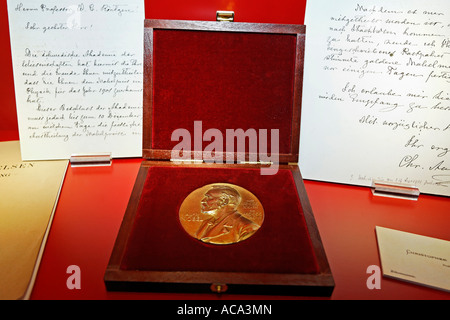 Nobel Prize Medal and letter to professor Roentgen, exhibit at German Roentgen Museum, Remscheid-Lennep, Germany - Stock Photo