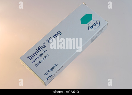 Tamiflu flu medicament from the Swiss company Roche - Stock Photo