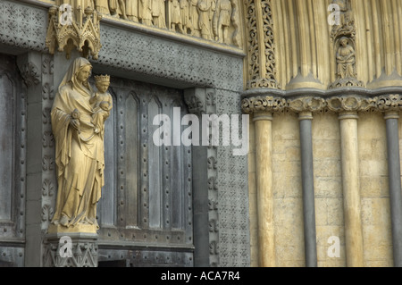 Close up of architectural detail at North entrance to Westminster Abbey, London, England - Stock Photo