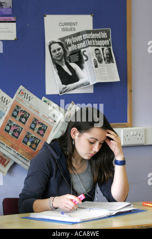 Female Sixth form college student studying in law class portrait Port P - Stock Photo