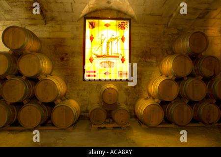 Brandy cellar in the Bodega Suau on Majorca, Spain - Stock Photo