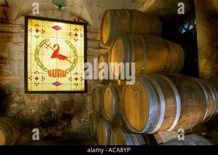 Brandy cellar in the Bodega Suau on Majorca Spain. - Stock Photo