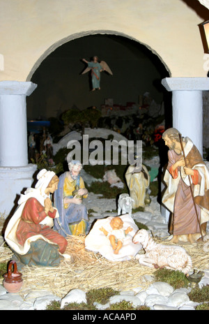 Spectacular nativity scene in the historic Church of St Nicholas in Tolentino ,'le Marche', Italy - Stock Photo
