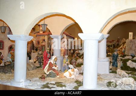 Spectacular nativity scene in the historic Church of St Nicholas in Tolentino ,'le Marche', Italy - Stock Photo