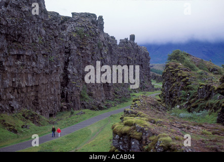 Mountains Tingvallir Iceland where the worlds first parliament settled a thousand years ago  - Stock Photo