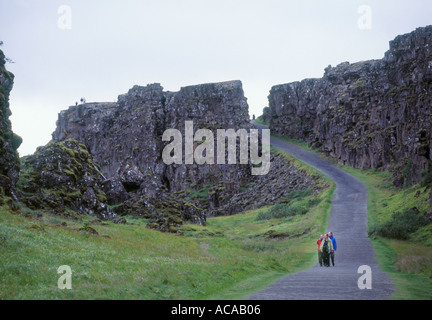 Tingvallir Iceland where the worlds first parliament settled a thousand years ago - Stock Photo