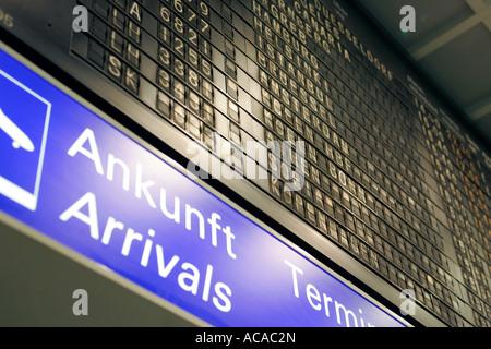 Depature Board at Terminal 1, Airport, Frankfurt, Hesse, Germany - Stock Photo