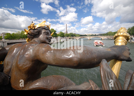 PARIS, FRANCE. A view over the River Seine from the Pont Alexandre III. 2007. - Stock Photo