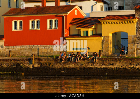 Danube riverside, Regensburg, Upper Palatinate, Bavaria, Germany - Stock Photo