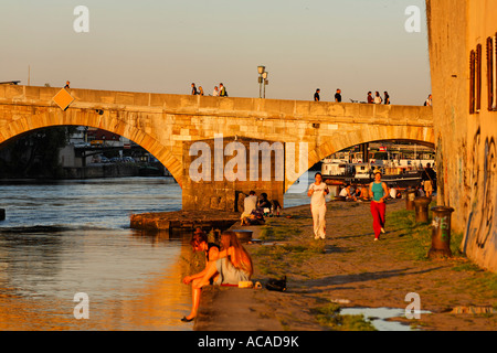 Stone Bridge, Regensburg, Upper Palatinate, Bavaria, Germany - Stock Photo