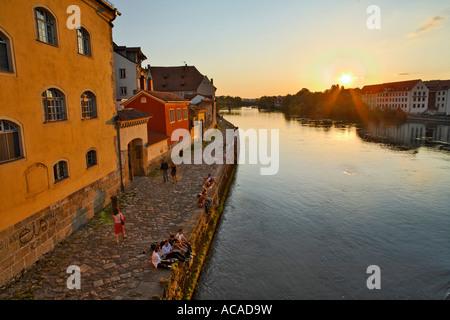 Weinlaende at Danube river, Regensburg, Upper Palatinate, Bavaria, Germany - Stock Photo