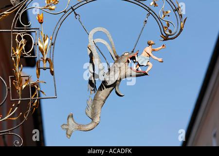Inn sign from 'Zum Walfisch', Regensburg, Upper Palatinate, Bavaria, Germany - Stock Photo