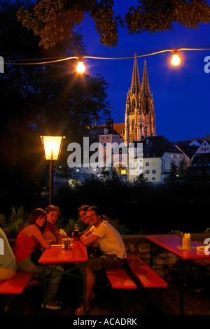 Beergarden Alte Linde, Regensburg, Upper Palatinate, Bavaria, Germany - Stock Photo