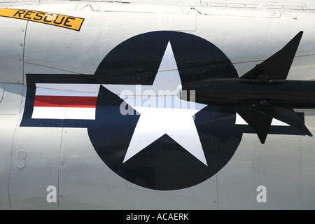 Navy sign on an aircraft aboard the carrier USS Midway, San Diego, California, USA - Stock Photo