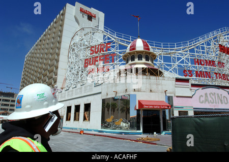 Boardwalk Casino and hotel being demolished on The Strip Las Vegas Nevada USA - Stock Photo