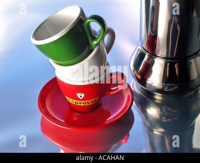 Three cups in the colours of the italian flag - Stock Photo