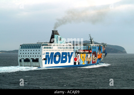 Olbia Sardinia Moby Lines Wonder ferry covered in graphics departing - Stock Photo