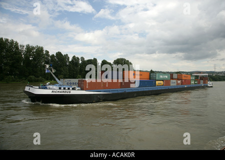 Container ship at the Rhine Rhineland-Palatinate Germany Europa - Stock Photo