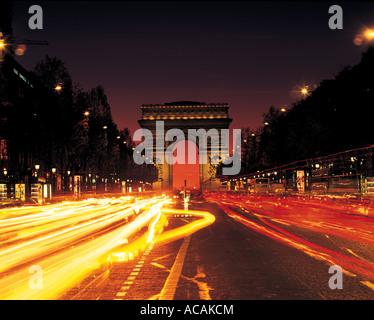 Arc de Triomphe in Paris France - Stock Photo