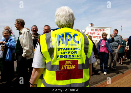 The annual Pensioners Association Conference march through Blackpool UK - Stock Photo