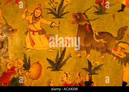 Tibetan Buddhism naive wall painting man with yaks Jokhang Lhasa Tibet China - Stock Photo