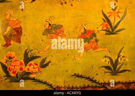 Tibetan Buddhism naive wall painting man with yaks Jokhang Lhasa ...