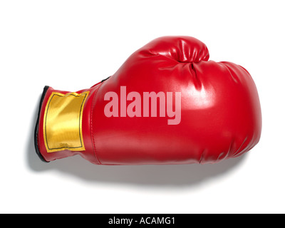 Red Boxing Glove insulated mitt glove hand protection finger thumb - Stock Photo