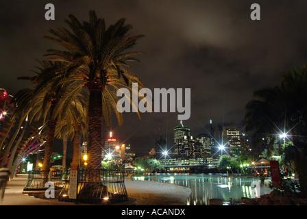 Park in Brisbane at night, Queensland, Australia - Stock Photo