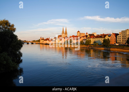 Regensburg, Stone Bridge, cathedral, Danube, Upper Palatinate, Bavaria, Germany - Stock Photo