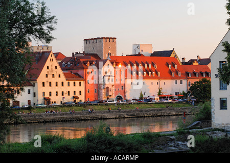 Regensburg, Danube, Upper Palatinate, Bavaria, Germany - Stock Photo