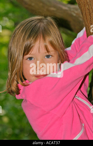 Portrait of young six year old girl in tree - Stock Photo